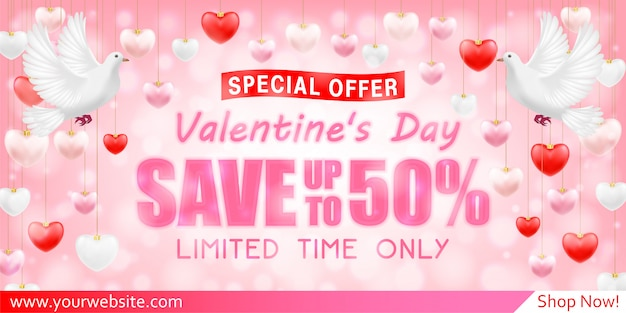 Valentines day shopping sale greeting card banner