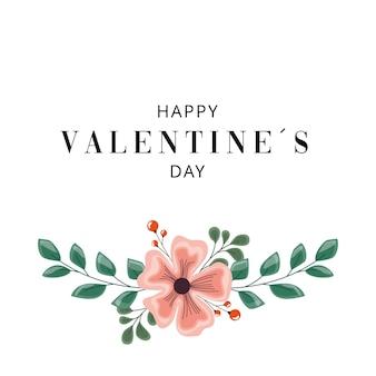 花の装飾が施されたバレンタインデーのシンプルなカード。