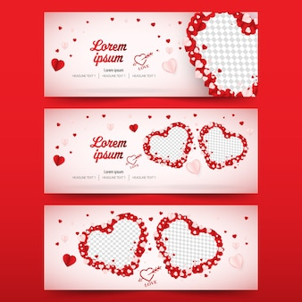 Valentines day social media banner cover vector template