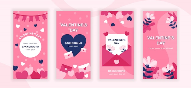 Valentines day social media stories templates set