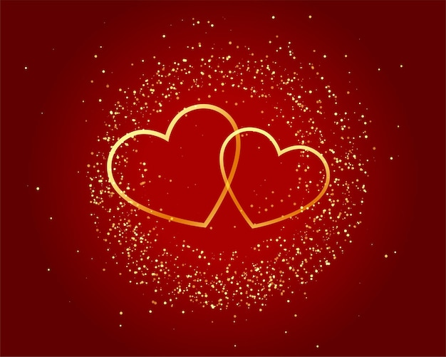 Valentines day sparkling love golden hearts on red background