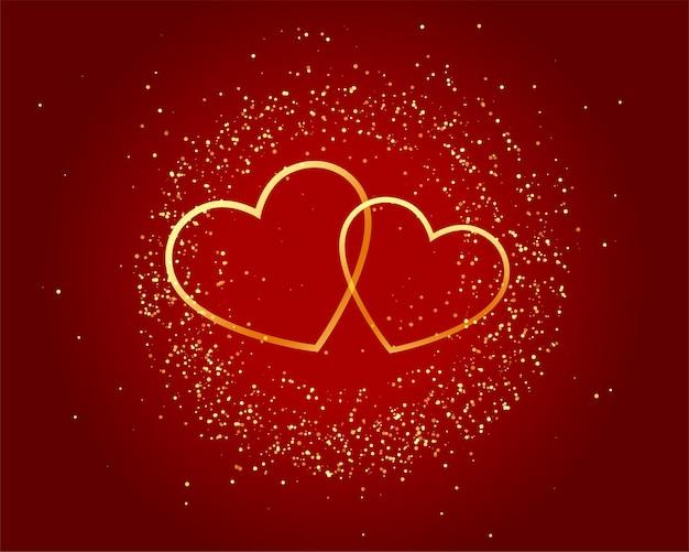 Cuori dorati di amore scintillante di giorno di biglietti di s. valentino su fondo rosso