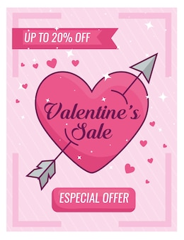 Valentines day special offer banner with and heart with arrow
