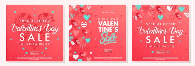 Баннеры специального предложения дня святого валентина с разными сердцами. акции ко дню святого валентина.