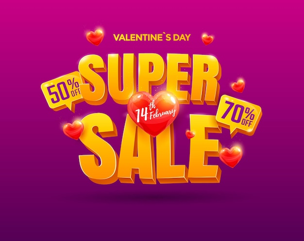 Valentines day super sale design. beautiful banner with heart and 3d text.