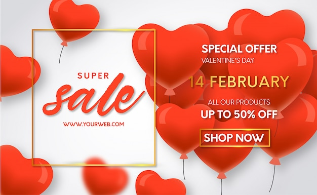 Valentines day super sale with balloons