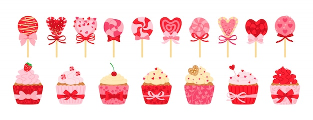 Valentines day sweets, candy and cupcake set. cartoon tasty holiday flat cartoon sweets. lollipop cane caramel, sugar cake cream. party food, decorated hearts, bow. isolated illustration
