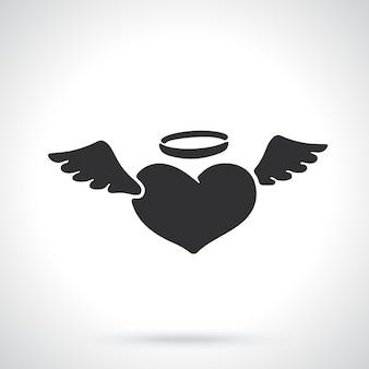 Символ дня святого валентина силуэт сердца ангела с крыльями и ореолом векторные иллюстрации