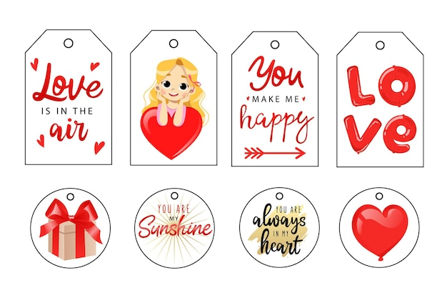Valentines day tags and labels