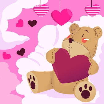 Valentines day teddy bear illustration