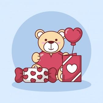 バレンタインデーのテディベアとハートバルーンとお菓子