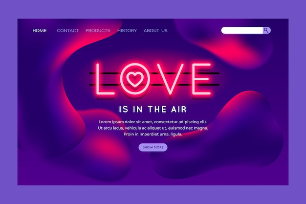 Valentines day theme for landing page