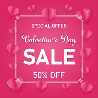 Valentines day theme sale promotion pink and white banner template