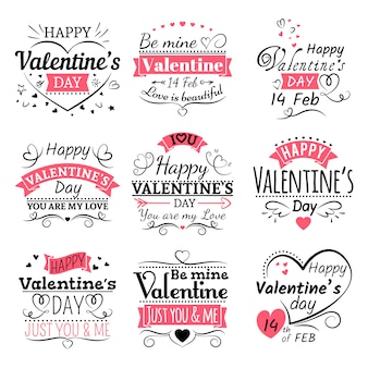 Valentines day typography set