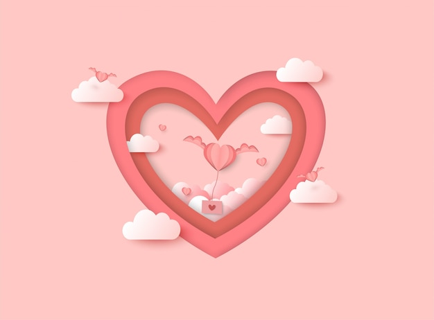 Valentines day vector background with pink heart shape