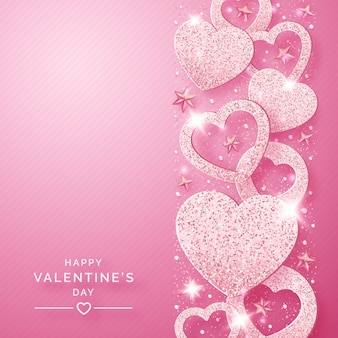 Valentines day vertical background with shining pink hearts and confetti