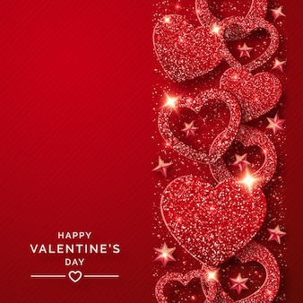 Valentines day vertical background with shining red hearts and confetti
