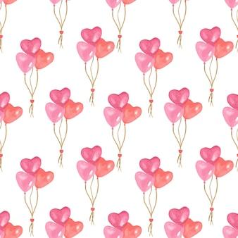 バレンタインデーの水彩パターン