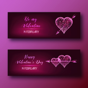 Valentines day web banners set with glowing low poly hearts with arrows