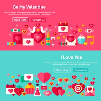 Valentines day website banners. vector illustration for web header. love modern flat design.