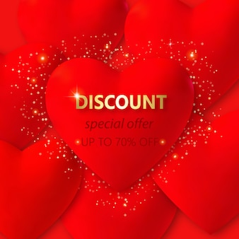 Valentines day   with 3d red hearts, lights and text. holiday card illustration on red  . discount bunner special offer up to 70 off.