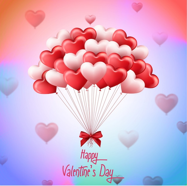 Valentines day with bunch of pink and red heart balloons