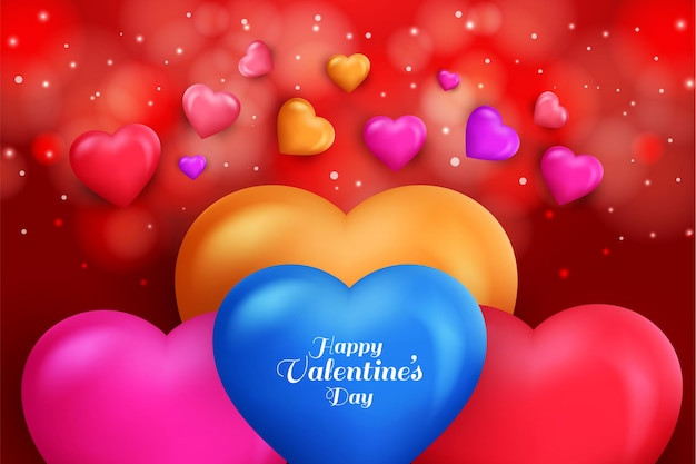 Valentines day with colorful love shapes