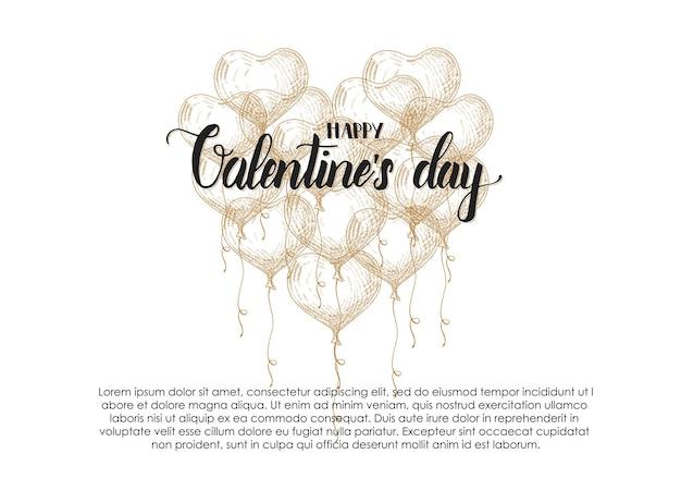 スケッチスタイルの落書き手描き風船とバレンタインデー。