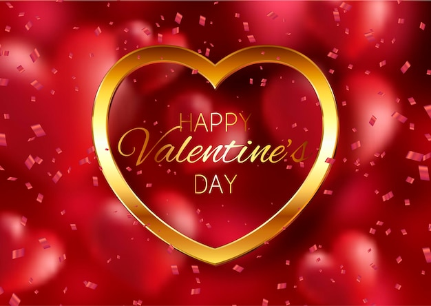 День святого валентина с золотым сердцем и конфетти Бесплатные векторы