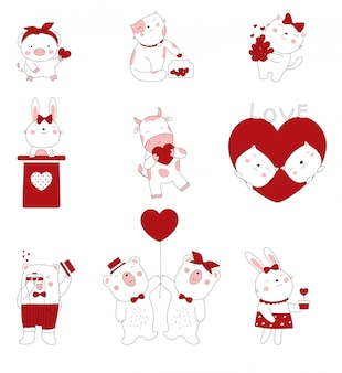 Valentines day with hand drawn style. cartoon sketch the cute posture baby animals