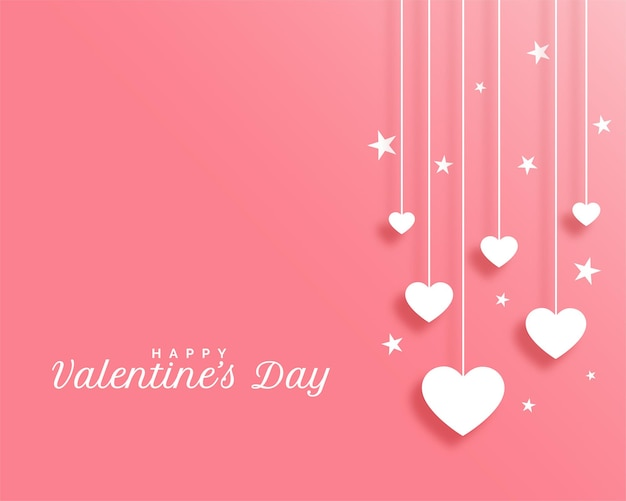 Valentines day with hanging hearts design