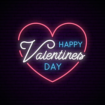 Valentines day with neon heart and text