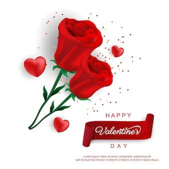 День святого валентина с розой и сердечками