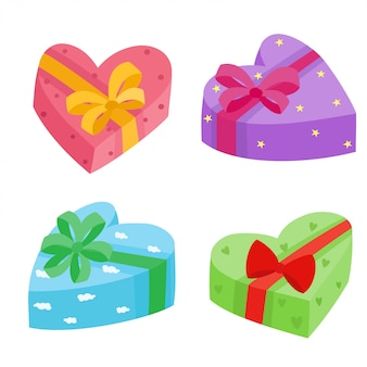 Valentines days presents collection.  illustration of cartoon gifts in bag isolated on white