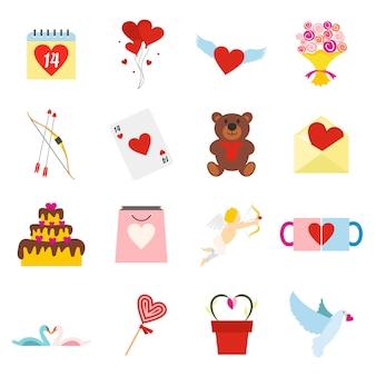 Valentines flat elements set