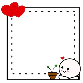 발렌타인 프레임 테두리 귀여운 디자인입니다. 장식 낙서 그림