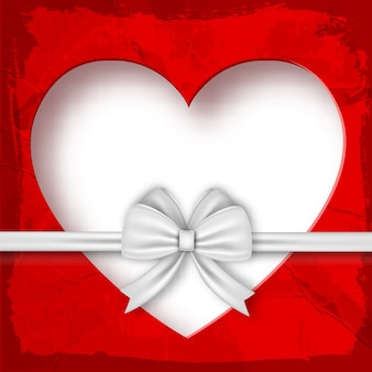Valentines gift composition on valentines day with white ribbon and heart illustration