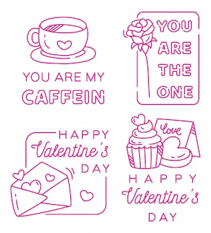 Valentines greeting badge in line style