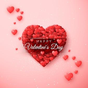 Валентинка с сердечками. по моему шаблону приглашения валентина. концепция поздравительной открытки на день святого валентина. изолированные на розовом фоне