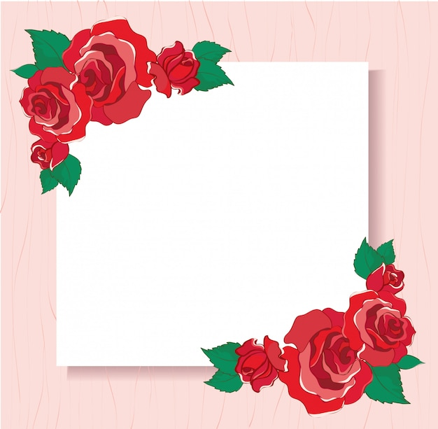 Valentines greeting card with red roses background