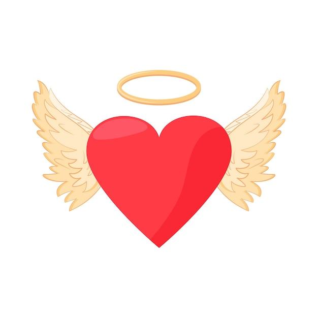 Валентинки. сердце и крылья ангела. праздничная иллюстрация