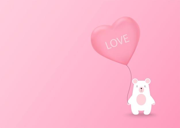 Валентина сердце воздушный шар с медведем на розовом фоне. день святого валентина милый фон. векторная иллюстрация.