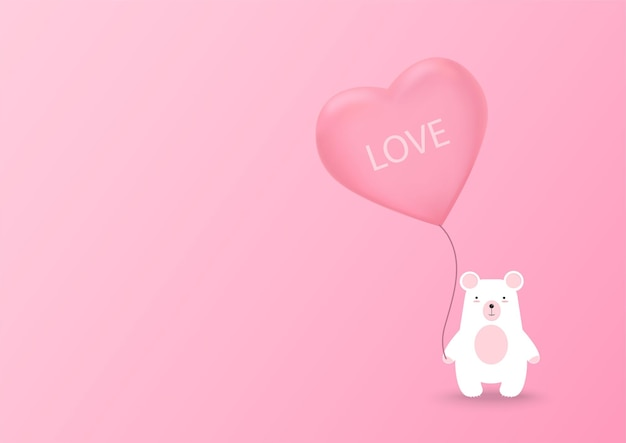 Valentines heart balloon with bear on pink background. valentine's day cute background. vector illustration.