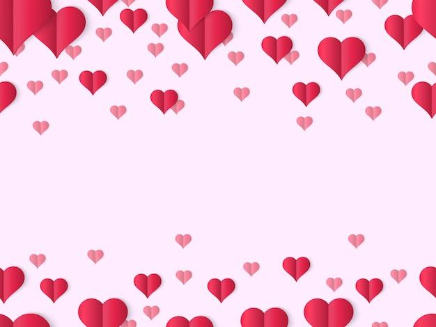 Валентина сердце баннер. декоративные границы влюбленности дня валентинок, милая бумажная форма элементов сердца, сложенная бумажная предпосылка сердец. открытка розовый фон с сердцевидными предметами
