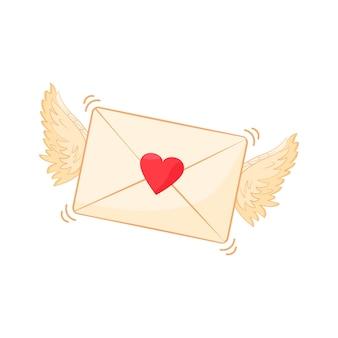 Валентинки. сердце, крылья ангела, любовное письмо, изолированные на белом фоне. праздничная иллюстрация