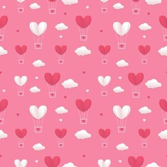 バレンタインハート風船と雲のシームレスなパターン