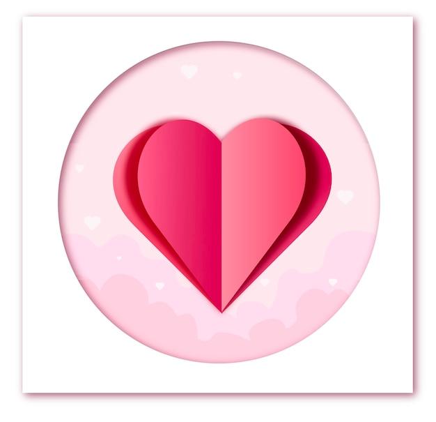엽서에 발렌타인 하트 분홍색 배경에 요소를 비행하는 종이 사랑의 상징 프리미엄 벡터