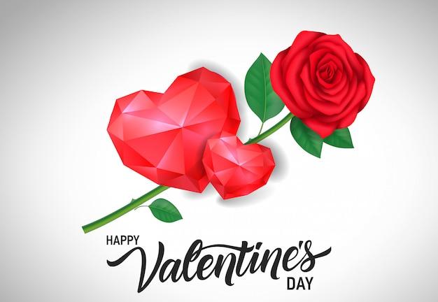 Валентинка с сердечками и розами
