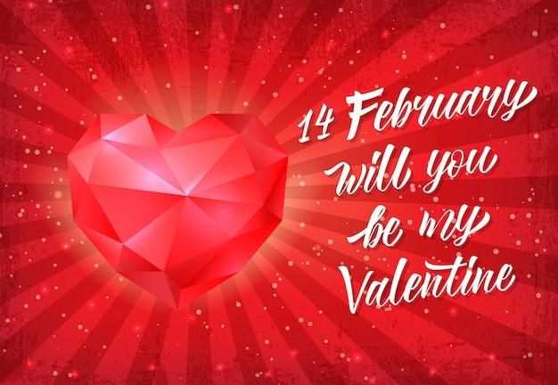 Валентинка с красным сердцем