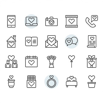 Valentines and love icon and symbol set in outline